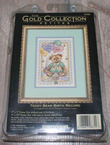 Teddy-Bear-Birth-Record-Rare-NIP-Dimensions-cross-stitch-kit