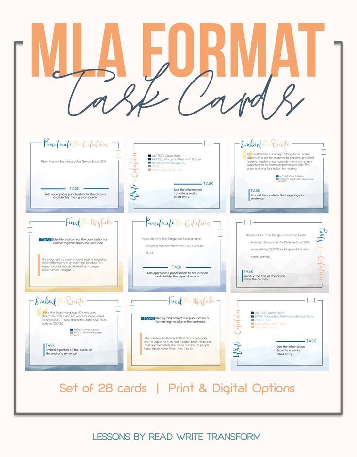 Mla Format 8th Edition Task Cards Print Digital Task Cards Middle School Mla Format Task Cards