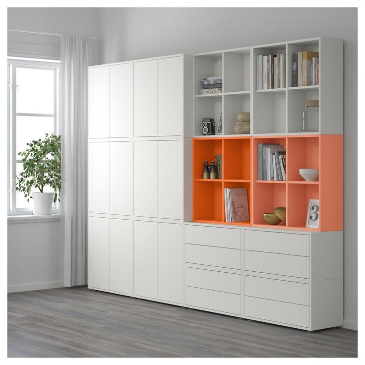 IKEA - EKET Storage combination with feet white/orange, light orange