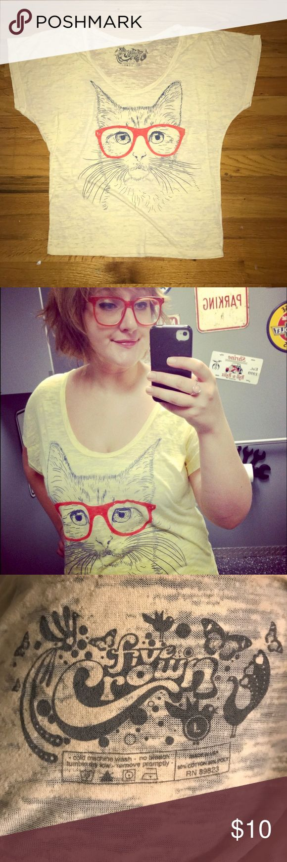 Hipster Glasses Cat Burnout Oversize Tee ModCloth Soft n Comfy pale yellow tee for that glasses wearing cat lover 😻  I didn't have this shirt for very long before I had my eyes fixed. Then I never really wore it again. I was so cool pairing it with my matching Sally Jesse spectacles. ModCloth Tops Tees - Short Sleeve