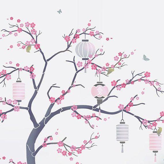 Japanese Cherry Blossom Sakura And Lanterns Nursery Tree Cherry Blossom Painting Tree Drawing Japanese Cherry Tree