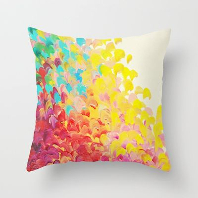 CREATION IN COLOR - Vibrant Bright Bold Colorful Abstract Painting Cheerful Fun Ocean Autumn Waves Throw Pillow by EbiEmporium - $20.00