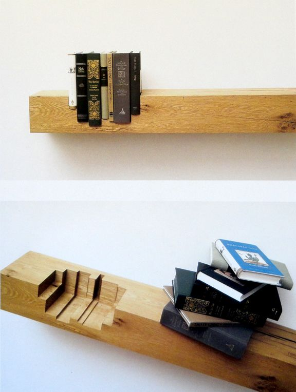 Cool shelf with inset books. Woodworking for Mere Mortals