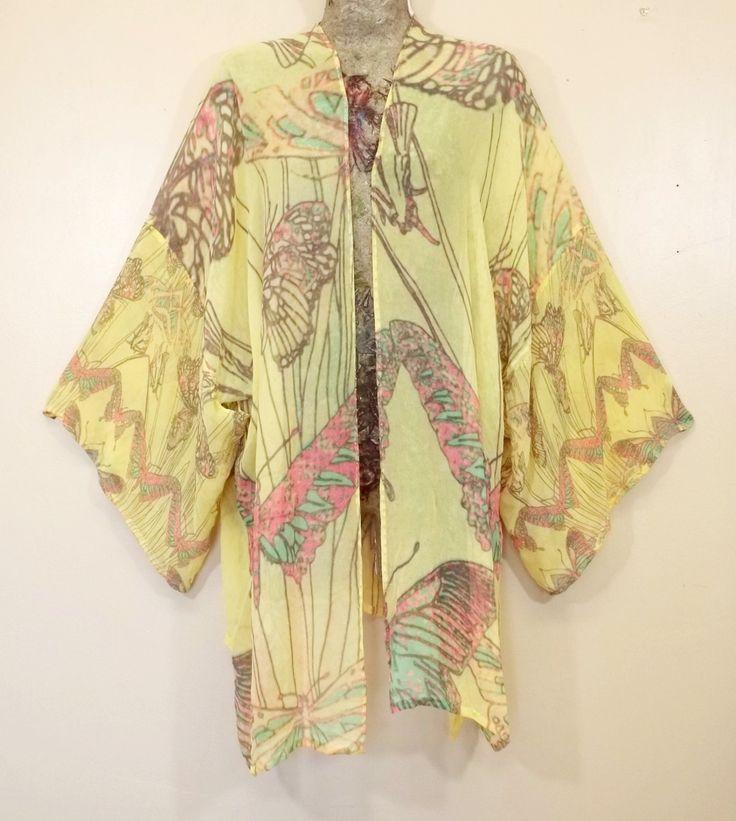 Yellow Butterflies Silk Kimono, One Off Kimono, Autumn Kimono, Boho Resort Kimono, Autumn Bridal Kimono, Plus Kimono, Boho Beaded Kimono by VenusdPyro on Etsy