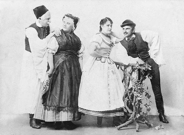 Csepreghy Ferenc: Sárga csikó. Népszínház, 1877. id. Tihanyi Miklós (Bakai András), Pártényi Jánosné (Ágnes), Blaha Lujza (Erzsike), Tamássy József (Laci)