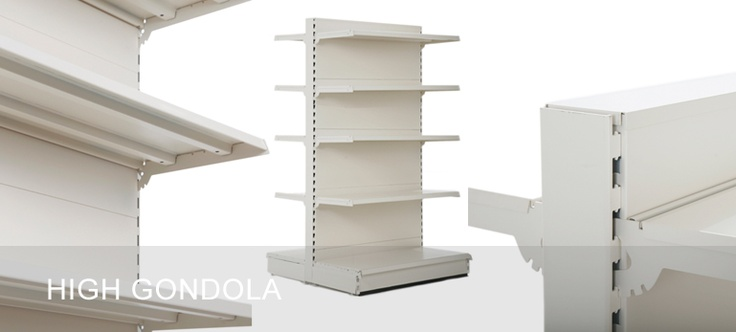 High gondola shelving with heights from 1.8m to 2.1m