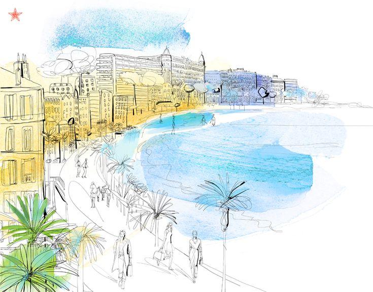 Illustrazione acquerello, travel book, mappa, Cannes, Croisette, San Pellegrino
