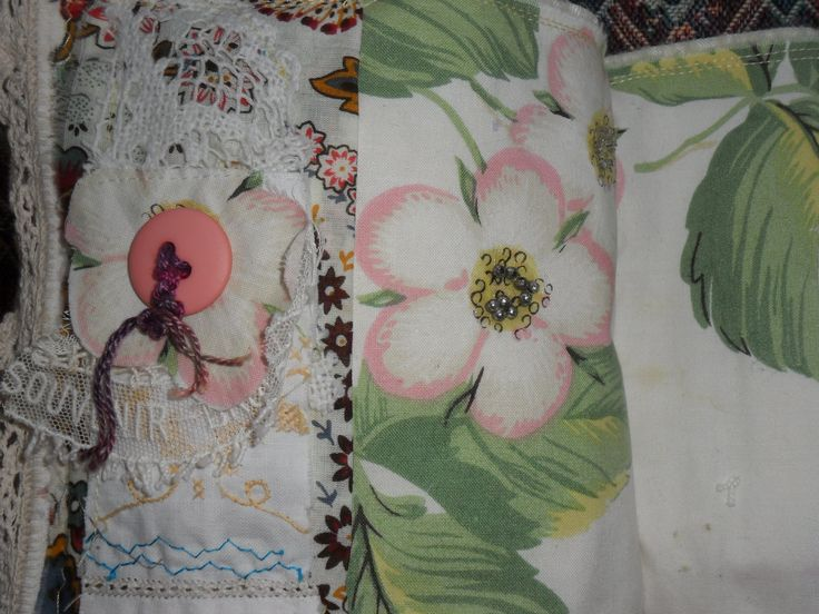 October, 7 layers, embroidered doily, lace from Belguim, button with embroidery thread, aw