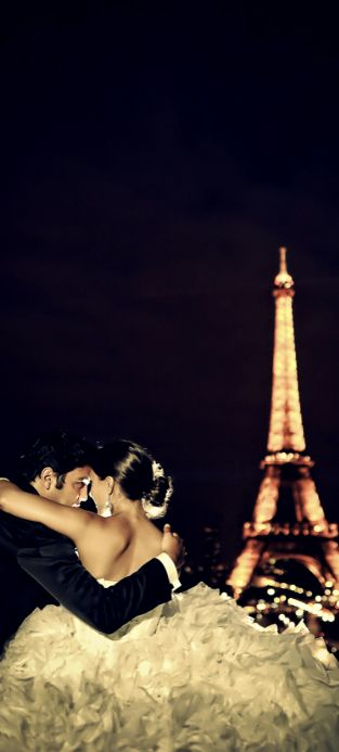 Nightlife In Paris. Married couple, bride and groom. French wedding inspiration.