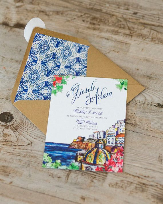 Positano Wedding Invitation Italian Amalfi by ModernVintageCapeCod  ✈✈✈ Here is your chance to win a Free Roundtrip Ticket to Amalfi Coast, Italy from anywhere in the world **GIVEAWAY** ✈✈✈ https://thedecisionmoment.com/free-roundtrip-tickets-to-europe-italy-amalfi-coast/
