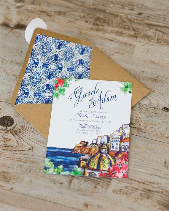 Positano Wedding Invitation Italian Amalfi by ModernVintageCapeCod