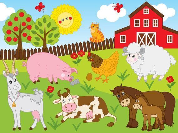 Farm Clipart Vector Farm Clipart Farm Animals Clipart Etsy In 2021 Farm Animals Clipart Farm Animal Party Animals Clipart