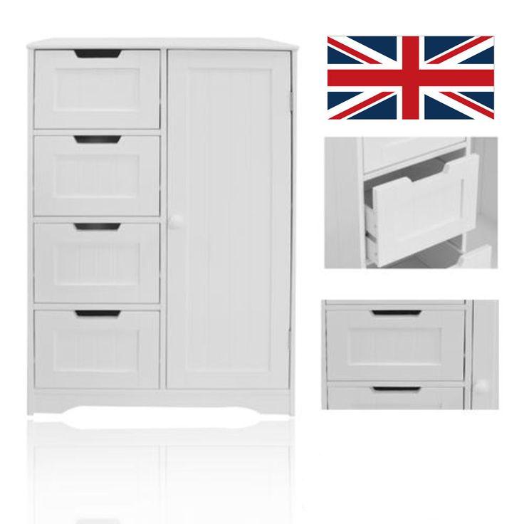 Schön 4 Drawer Bathroom Cabinet Storage Unit Wooden Chest Cupboard White Door Draw
