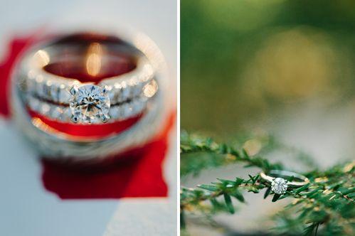 Wintery wedding ring shot.