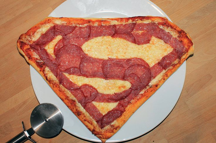 Superman-Pizza - This would be great for a kids birthday party!