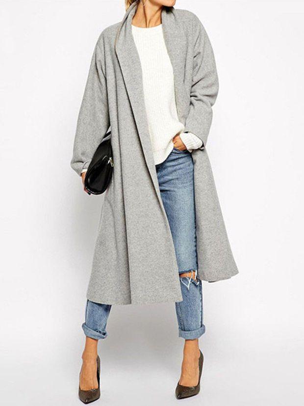 Gray Lapel Pocket Detail Longline Coat