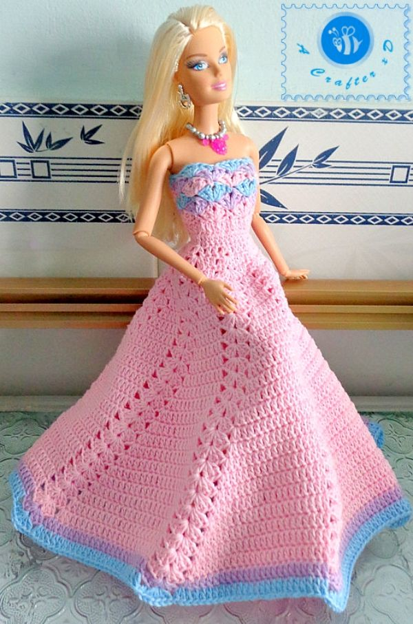 Strapless Shell Gown for Fashion Doll Free Crochet Pattern from Maz Kwok Designs.