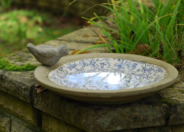 A lovely glazed ceramic bird bath - aged to give it an old Victorian feel