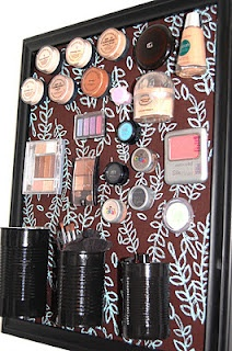 Magnetic Makeup Frame - I used a wire locker basket found in the back-to-school section at Target for my tool things.  I LOVE the whole thing