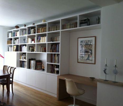 bureau bibliotheque integre huoneet pinterest room living room et bookshelves