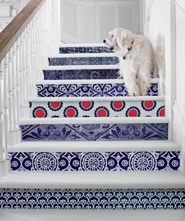 Stenciled stairway by Serena and Lily. www.serenaandlily.com