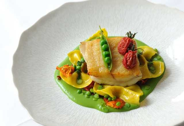 Brill, English peas, heirloom tomatoes, farfalle