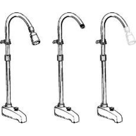 Add On Shower With Diverter Spout Chrome Plated Brass, Silver
