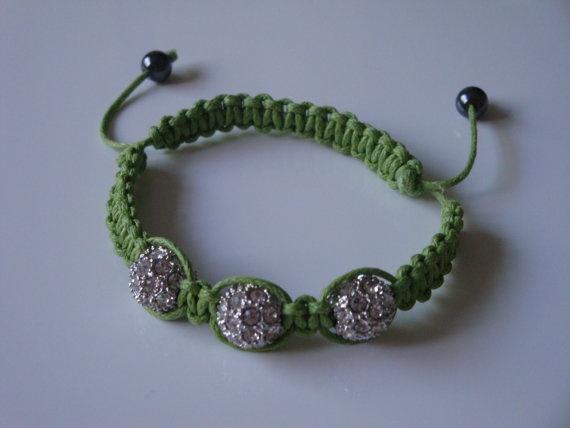 Lime Green Shamballa Bracelet by traceysjewellery on Etsy, £9.99