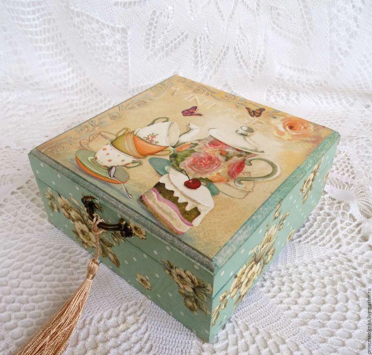 """Купить """"Чайку"""", Шкатулка для чая, сладостей,украшений, рукоделия, - винтажный, винтажный стиль, шкатулка"""