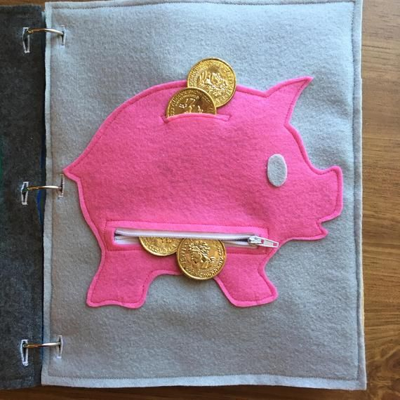 Piggybank Quiet Book Page, Quiet Books, Toddler, Zipper, Childrens Books, Felt, Busy Bag, Travel Activities, Kids Gifts, ThePinkPenguinShop