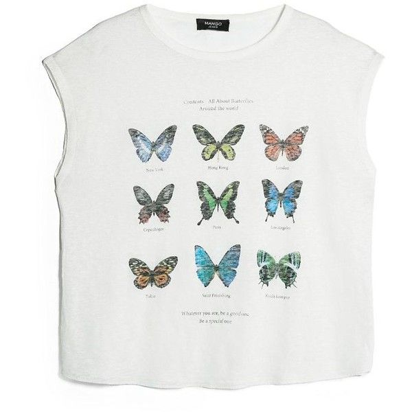 MANGO Butterfly linen t-shirt found on Polyvore