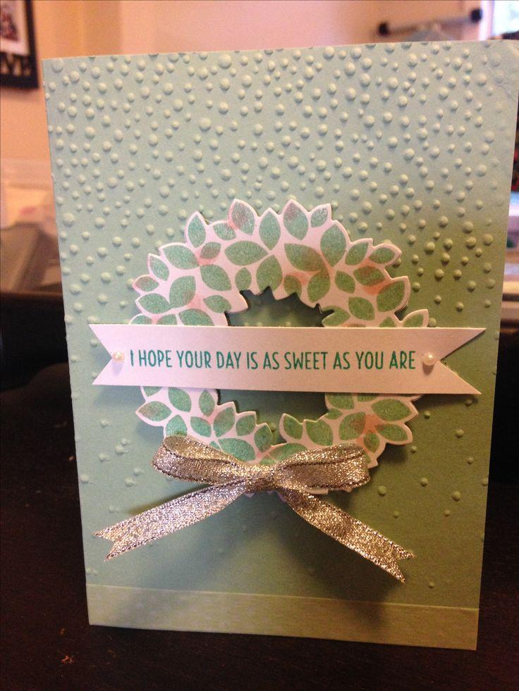 Wondrous wreath stampin up birthday card.