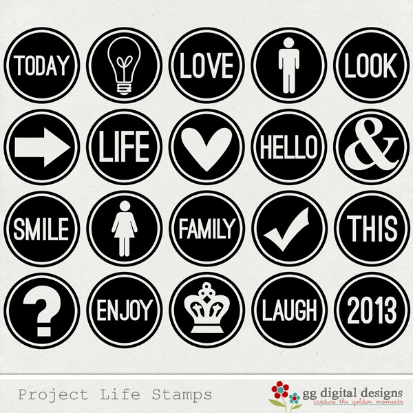 Project Life Digital Stamps - print in any color you want!