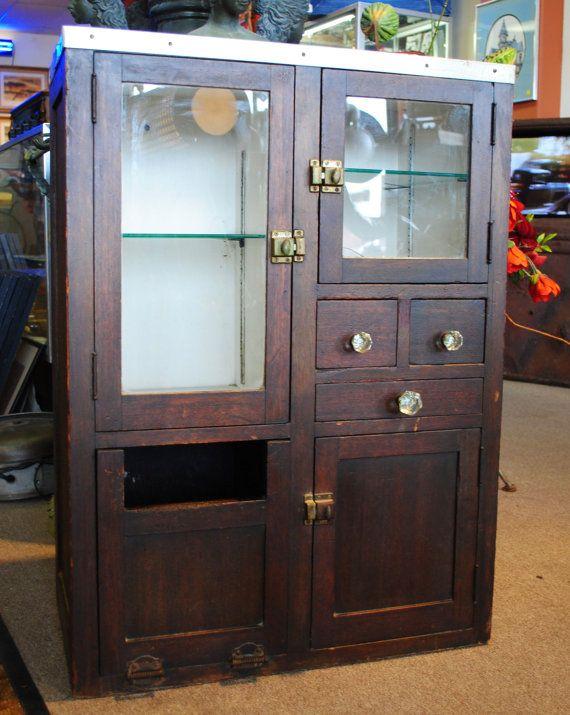 Vintage Wood Barber Cabinet From The Santa By Medusasantiques 900 00