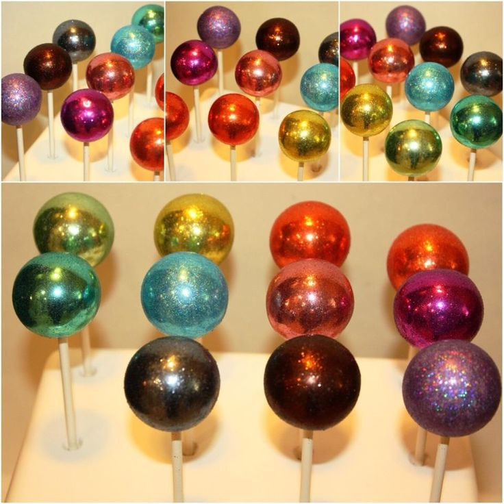 "Gem cake pops by ""O"" Pops by Angie What are these covered with?  Looks like beautiful mercury glass!!!"