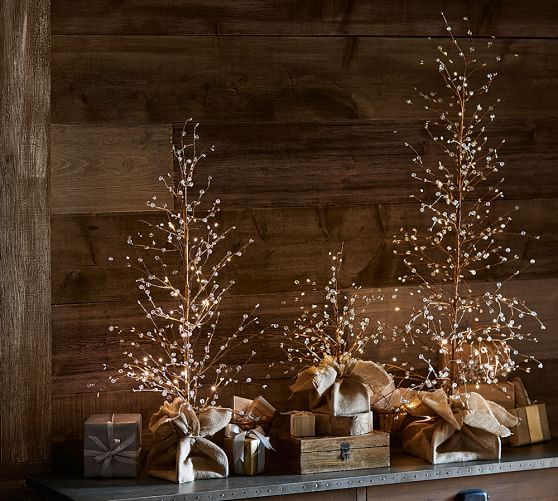Lit white berry trees pottery barn o holy night