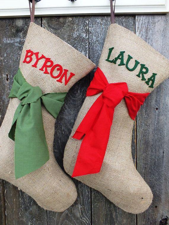 BURLAP CHRISTMAS STOCKING  of by TiddlywinkDesign...