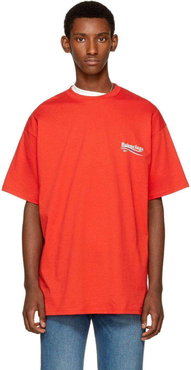 917035ad427e BALENCIAGA Red Campaign Logo T-Shirt. #balenciaga #cloth #t-shirt ...