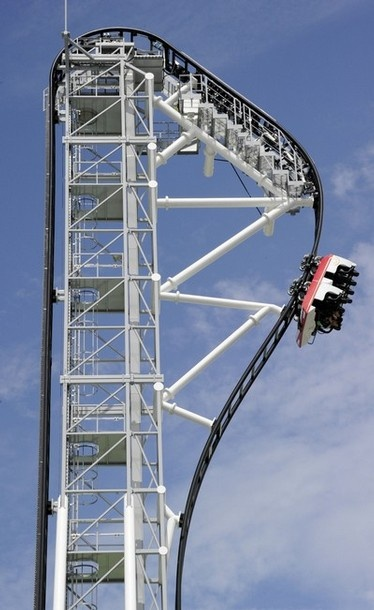 The world's steepest roller coaster, the Takabisha in Japan.