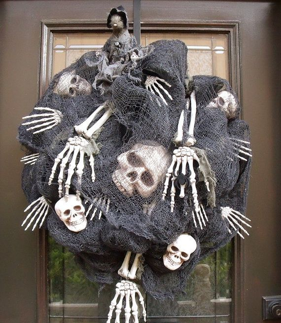 scary halloween wreath skull and bones halloween decoration deco mesh halloween wreaths outdoor - Halloween Deco