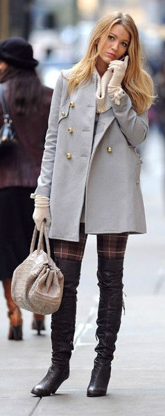 Blake Lively Fall Street Chic - I have about everything to recreate this! Off white long coat, black thigh high MK boots, print.tights