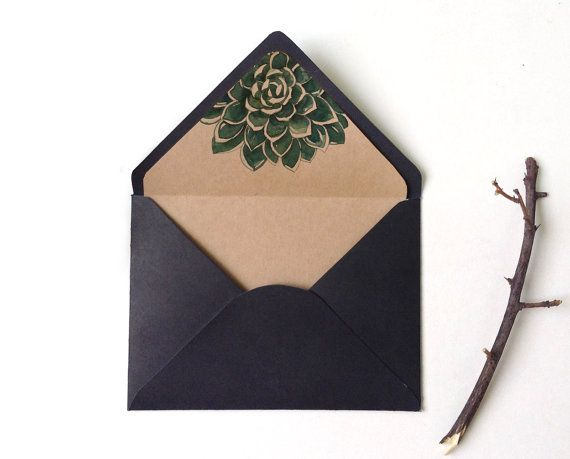 Botanic succulent envelope liner, Watercolor Succulent, envelope liner…