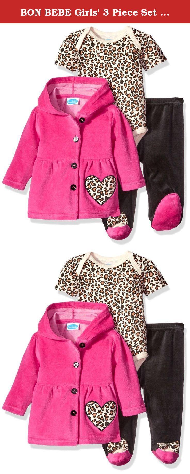 01bb53eb8c7 BON BEBE Girls' 3 Piece Set with Velour Jacket Pant and Bodysuit, Le… | Pant  Sets, Clothing Sets, Clothing, Baby Girls, Baby, Clothing, Shoes & Jewelry