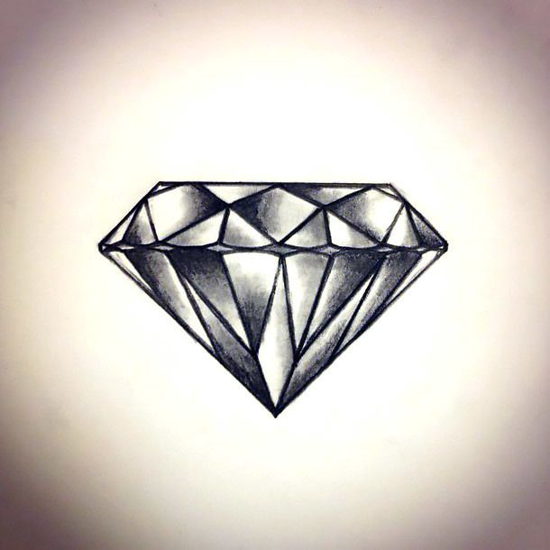 Cool Diamond Tattoo Design A Cool Tattoo Art Of A Gray Diamond For Women Tattoo Shading Diamond Tattoo Designs Elegant Tattoos