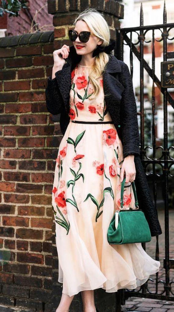 Floral aplique dress