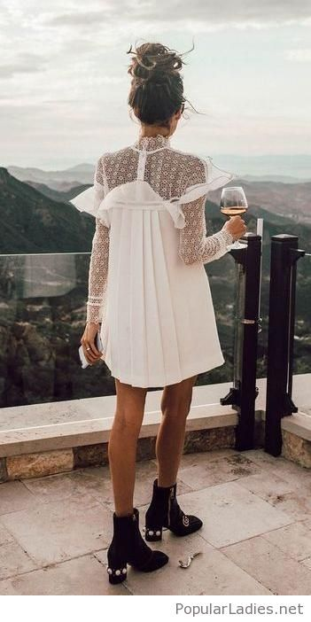 White dress with black boots