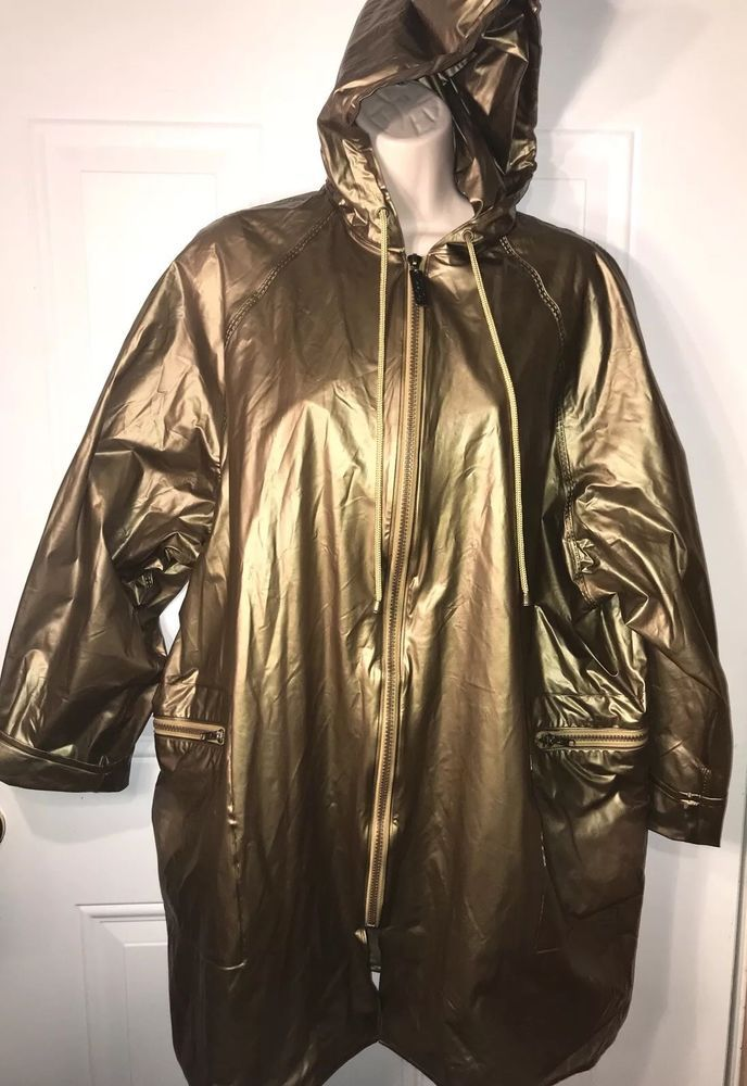 Totes Vintage Rainwear Gold Rain Jacket Hooded Coat Medium Large Vinyl Long Zip Hooded Coat Rain Wear Rain Jacket