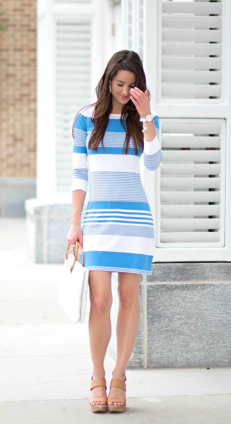 Lilly Pulitzer nautical t-shirt dress with all white accessories