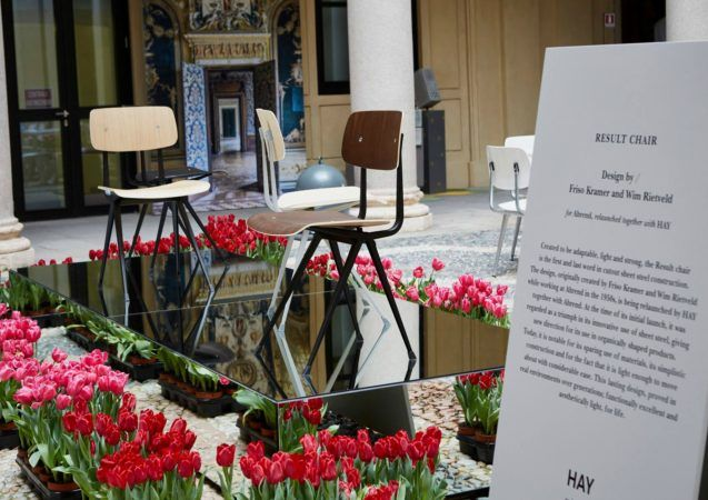 The relaunch of the Result Chair and Pyramid Table. A very successful collaboration between the Dutch company Ahrend and the Scandinavian design brand Hay. At Masterly - The Dutch in Milano on the gorgeous patio of Palazzo Francesco Tutti in the centre of Milan.  #salonedelmobile #milan #masterly #dutchdesign #relaunch #interiordesign