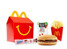 McDonald's Hamburger Happy Meal with Apple Slices and Low-fat Milk Calories – 390 Fat – 11 grams Sodium – 650 mg Carbohydrate – 51 grams Fiber – 2 grams Protein – 20 gramsThe 10 Healthiest Menu Items of 2011 | SparkPeople